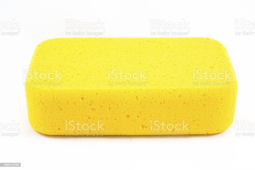 Yellow sponge isolated stock photo
