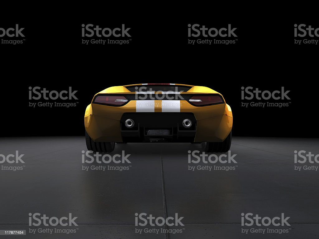 Yellow Sports Car on dark background royalty-free stock photo