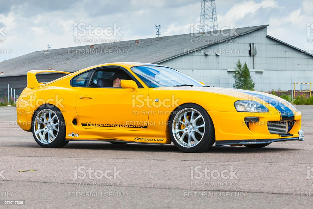 Yellow sporty Toyota Supra A80 stock photo