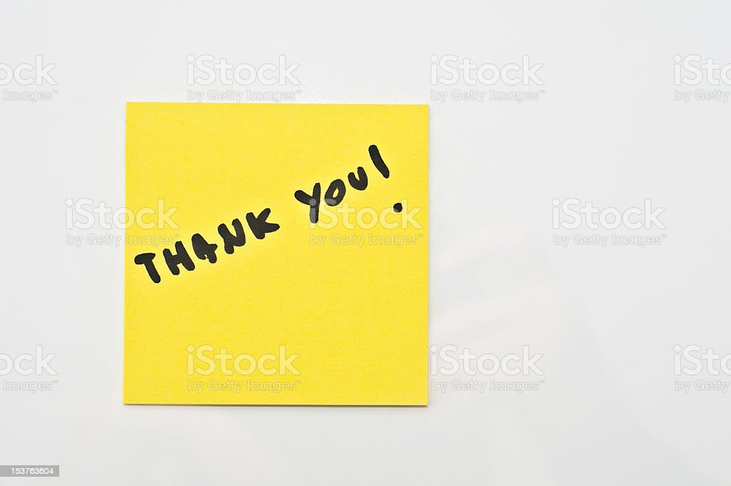 Yellow square Post it with Thank you royalty-free stock photo