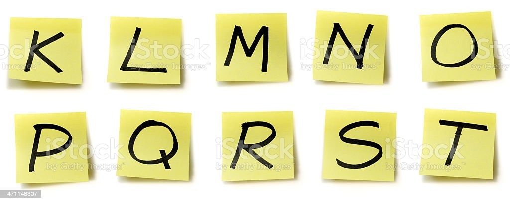 Yellow sticky alphabet royalty-free stock photo