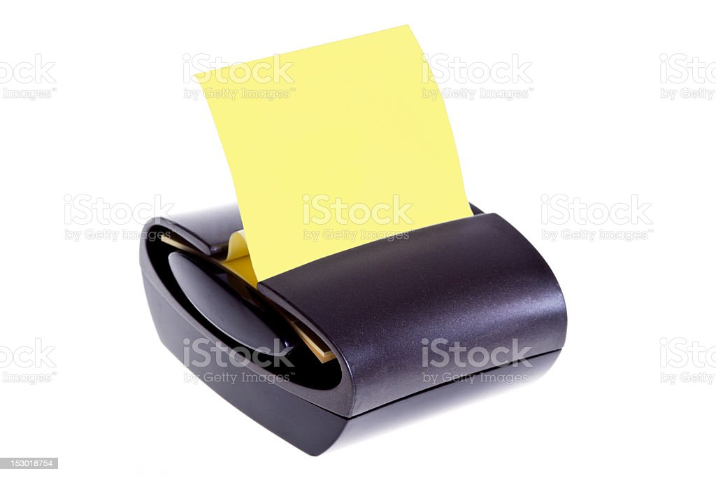 yellow sticky note dispenser stock photo