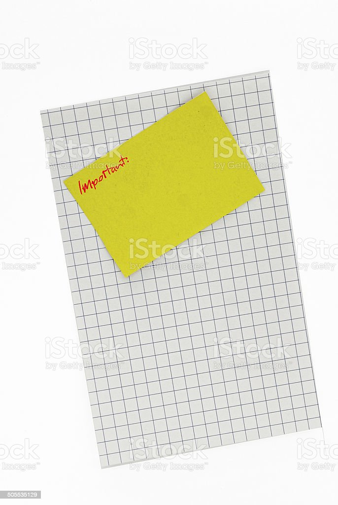 yellow sticky note important stock photo