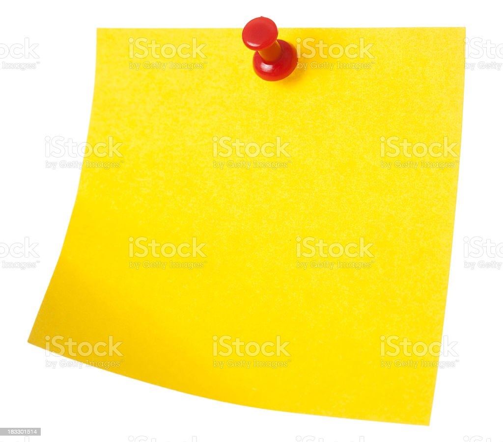 Yellow sticky note pinned with red drawing pin royalty-free stock photo