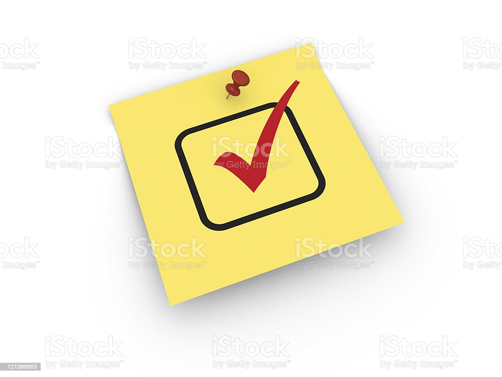 Yellow Sticky Note with Check Mark royalty-free stock photo