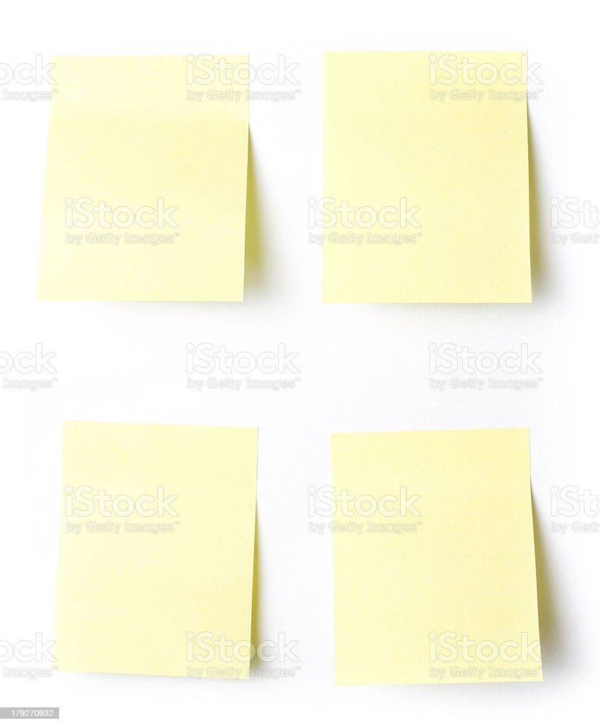 Yellow Sticky reminder note waiting for your message royalty-free stock photo