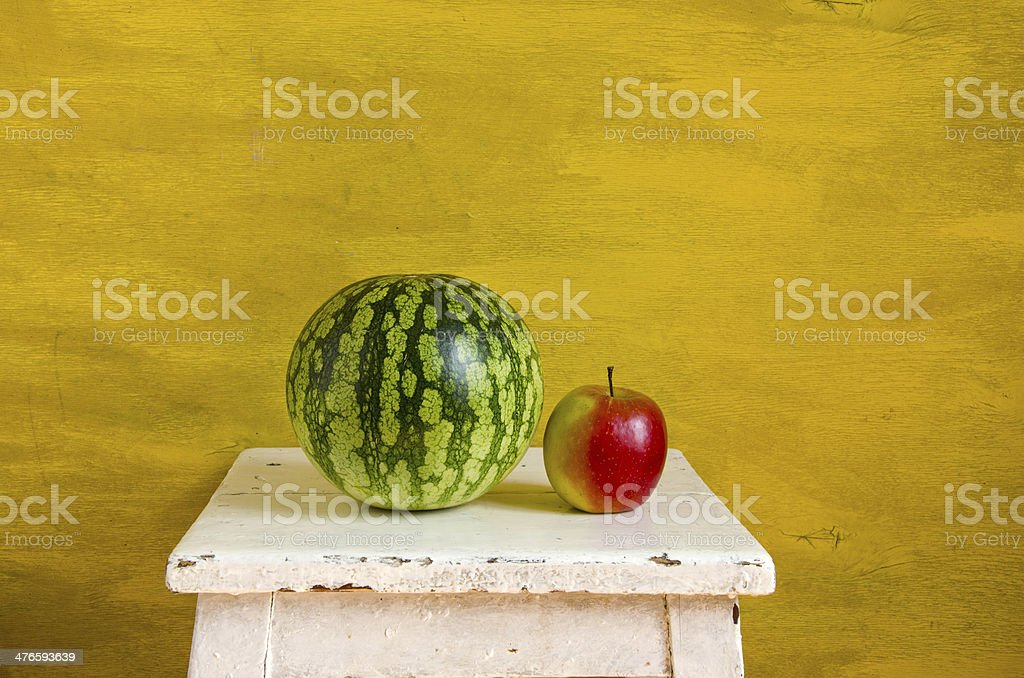 yellow still-life with watermelon royalty-free stock photo