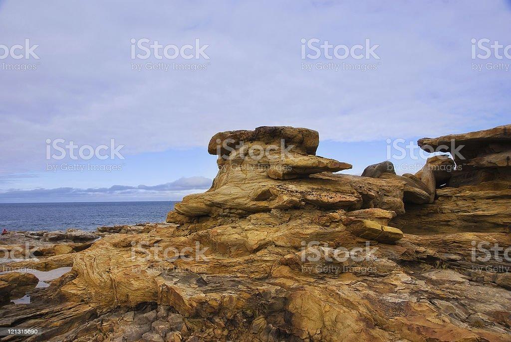 Yellow stones on the Arctic Coast stock photo