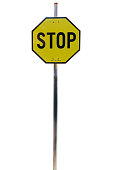 Yellow Stop Sign,  isolated on white
