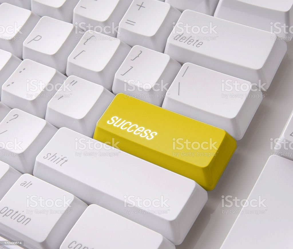 Yellow success key with clipping path royalty-free stock photo
