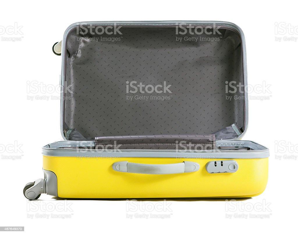 yellow suitcase isolated on white stock photo