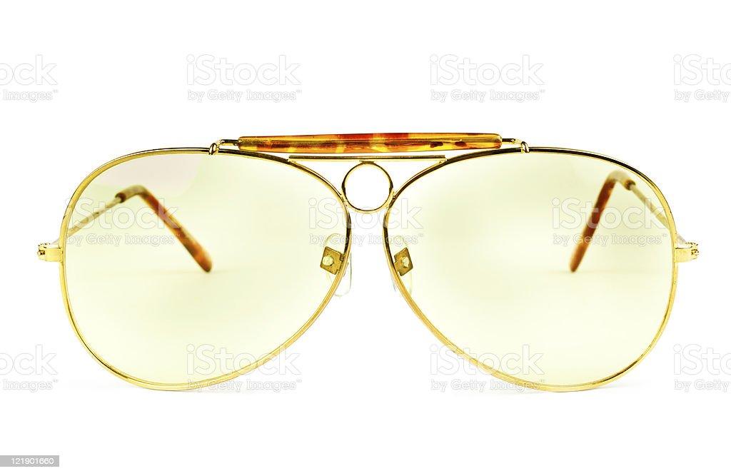 yellow sunglasses isolated on white background stock photo