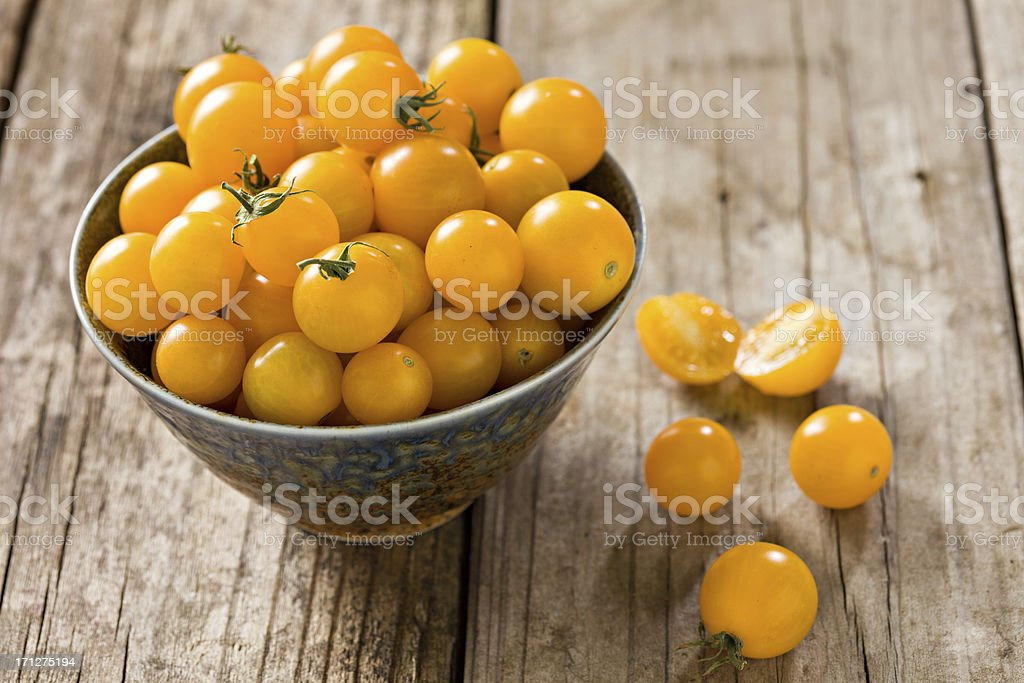 Yellow Sungold Cherry Tomatoes royalty-free stock photo