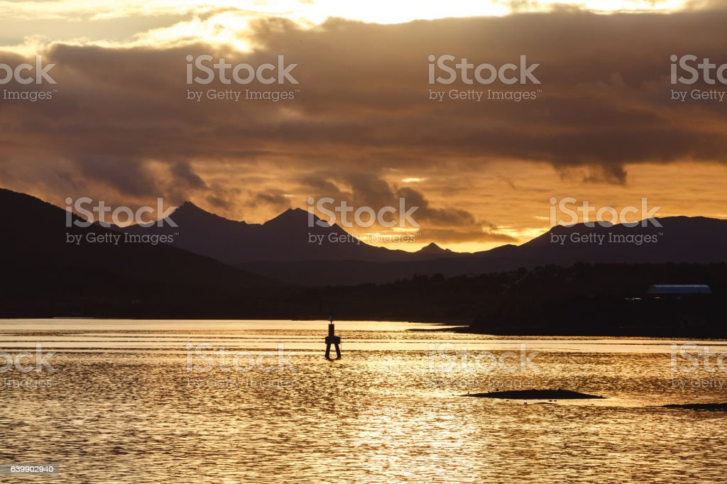 Yellow Sunset in Norway stock photo
