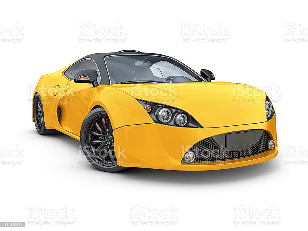 yellow supercar royalty-free stock photo