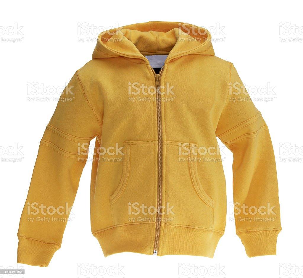Yellow Sweat-shirt on white background royalty-free stock photo