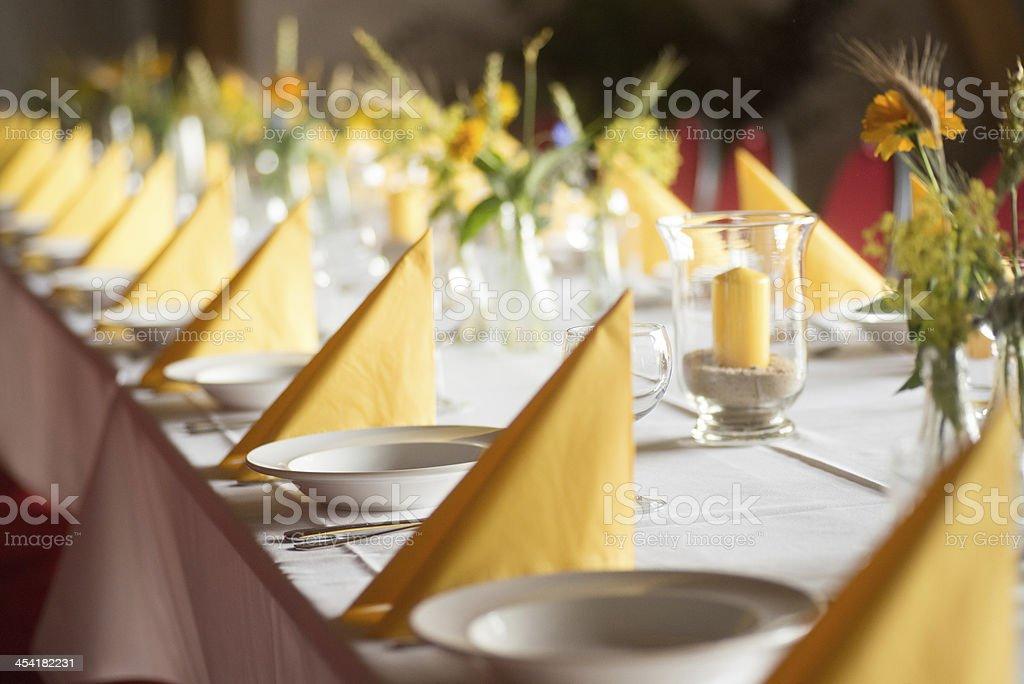 yellow table decoration stock photo