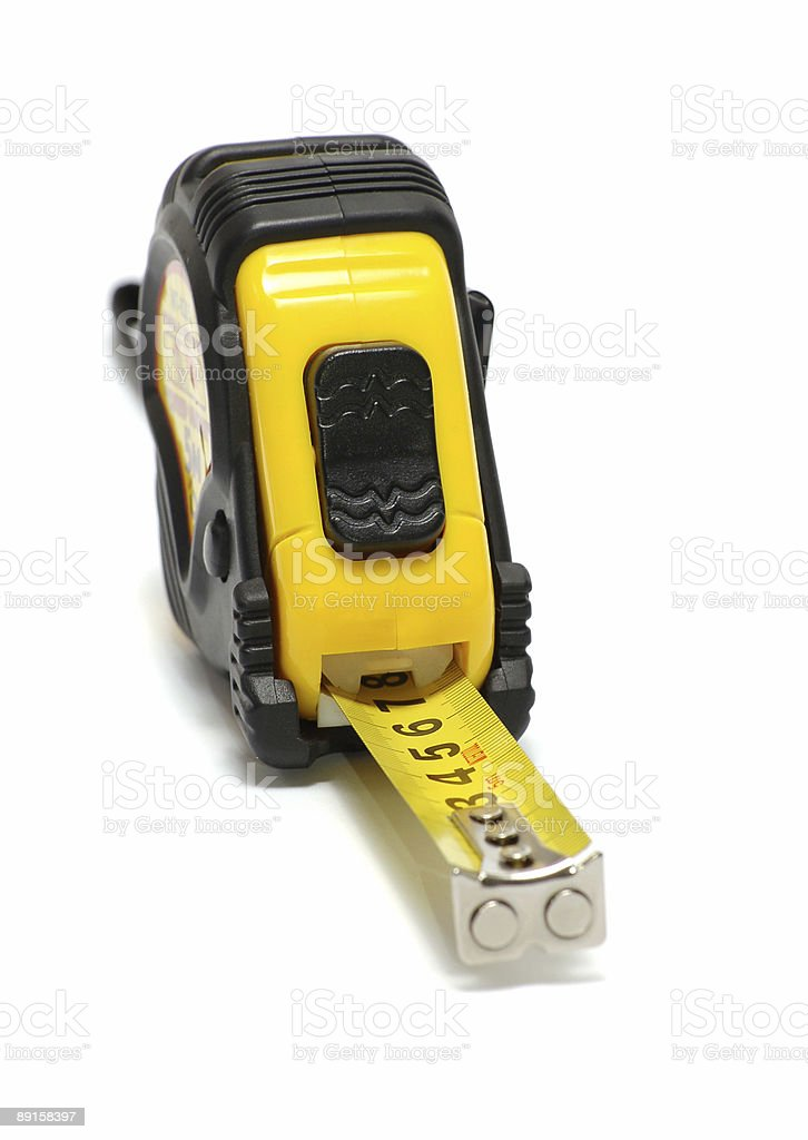 yellow tape measure stock photo