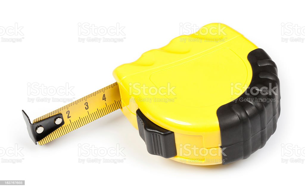 Yellow tape measure showing 4 1/2 inches royalty-free stock photo