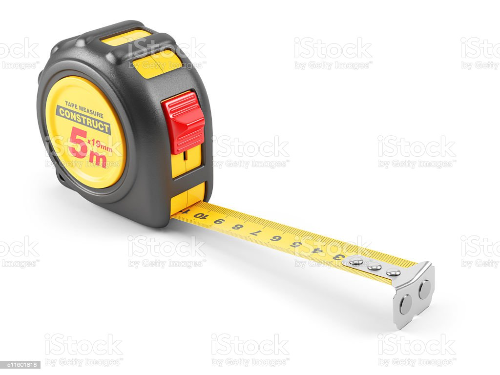 Yellow tape mesure tool. stock photo