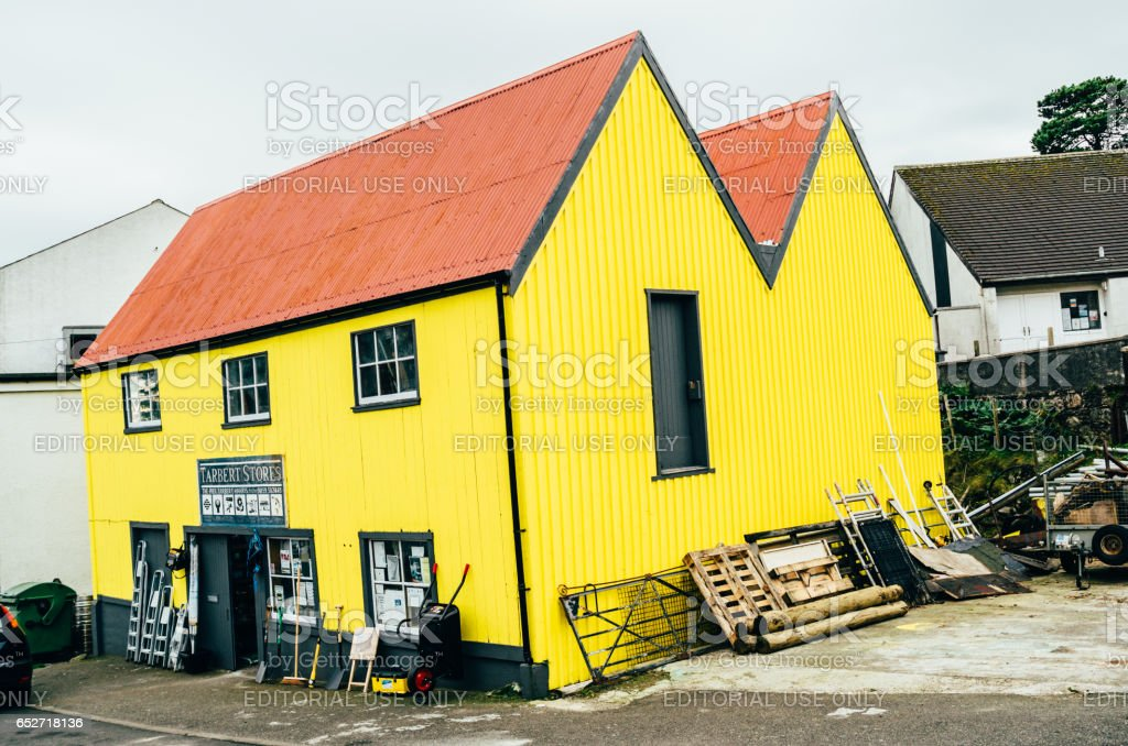 Yellow Tarbert Stores shop, Outer Hebrides, Scotland stock photo