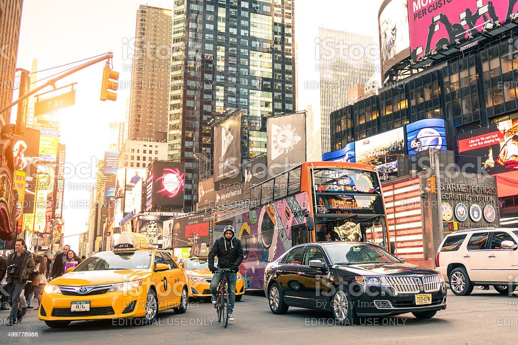 Yellow taxi cab and rush hour in New York City stock photo