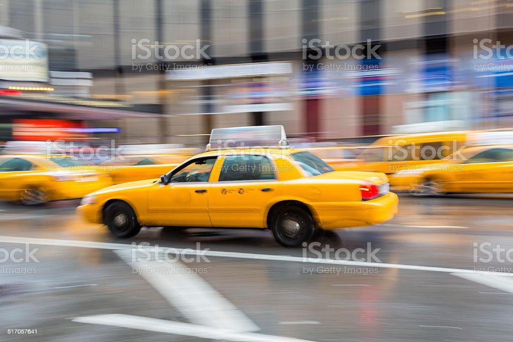 Yellow Taxi Cabs, Manhattan, New York stock photo