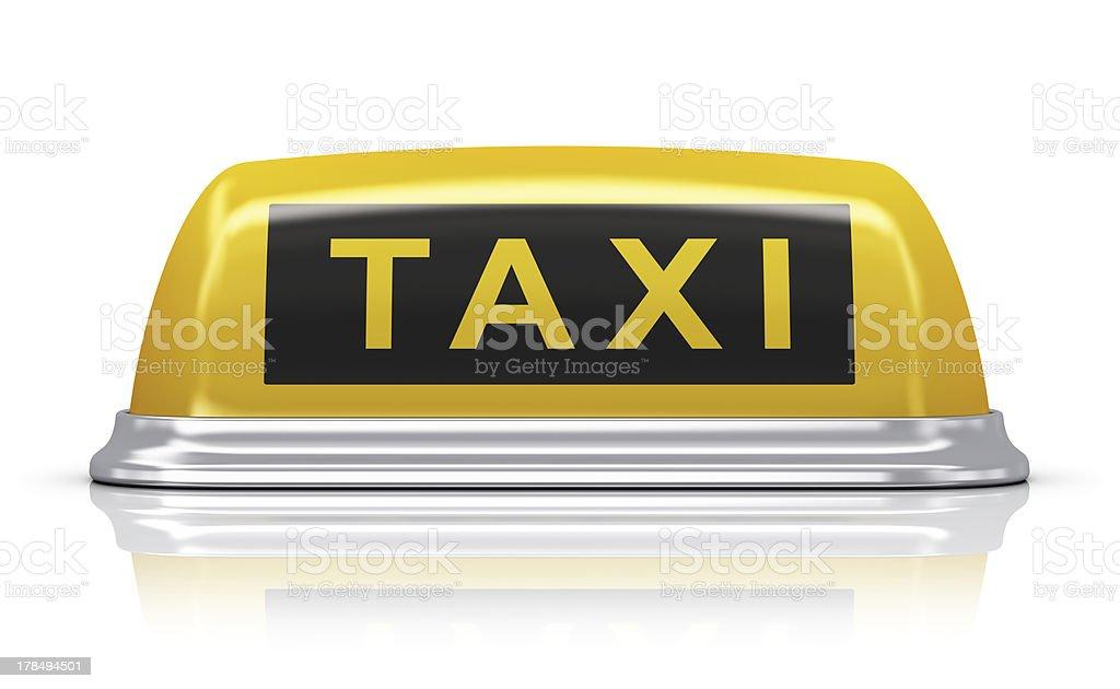 Yellow taxi car sign stock photo