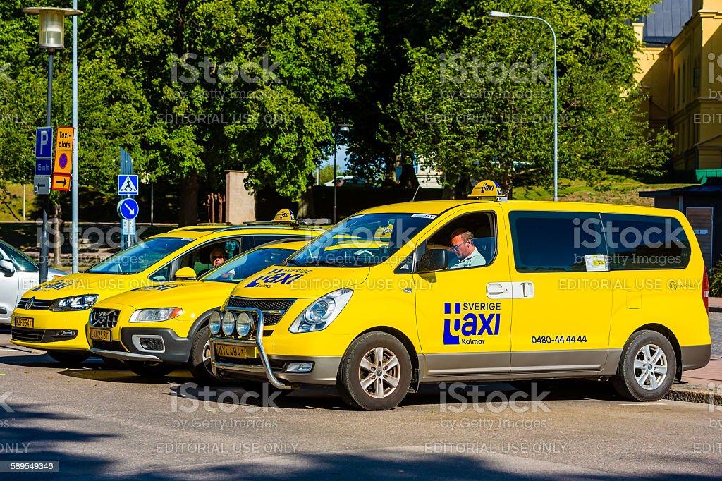 Yellow taxi cars stock photo