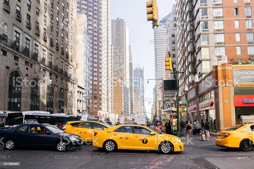 Yellow taxi in New York. stock photo
