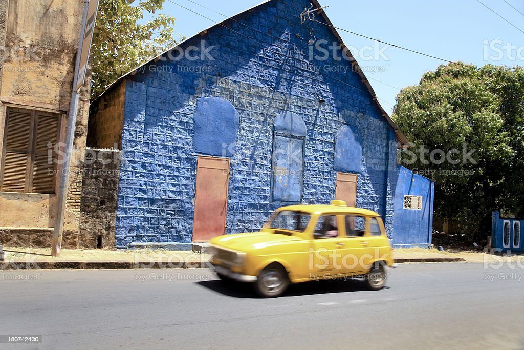 Yellow taxi in the streets of Madagascar. East Africa stock photo