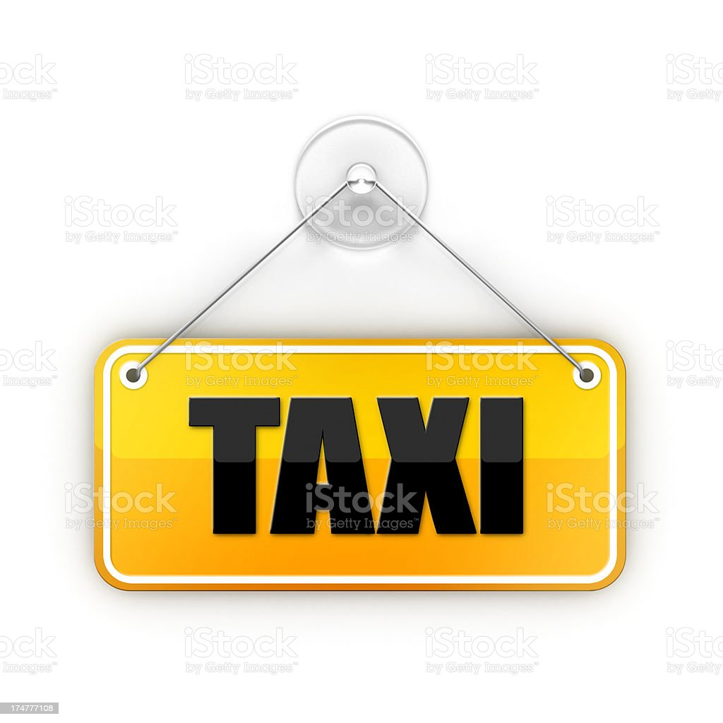 yellow taxi Sticky sign stock photo