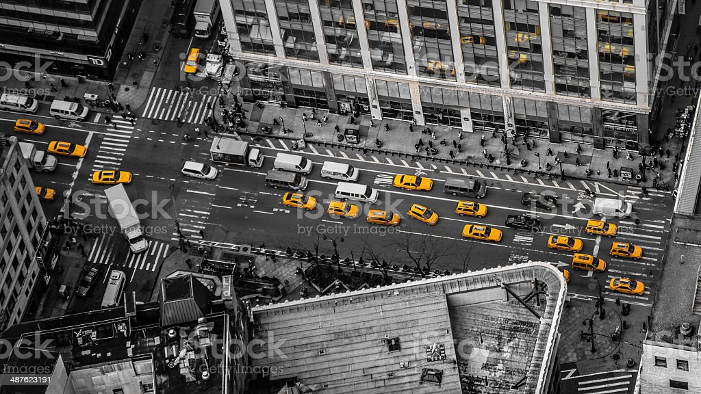 Yellow Taxicabs stock photo