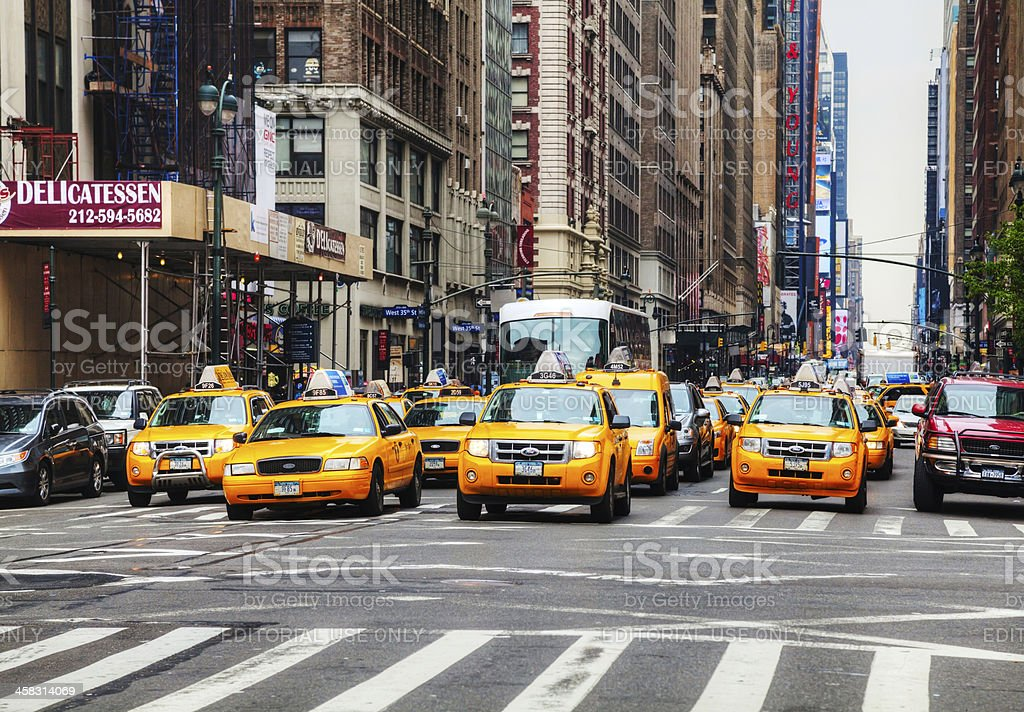 Yellow taxis at the New York City street royalty-free stock photo