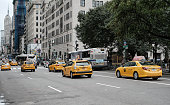 Yellow Taxis Seen Down Broadway, New York City
