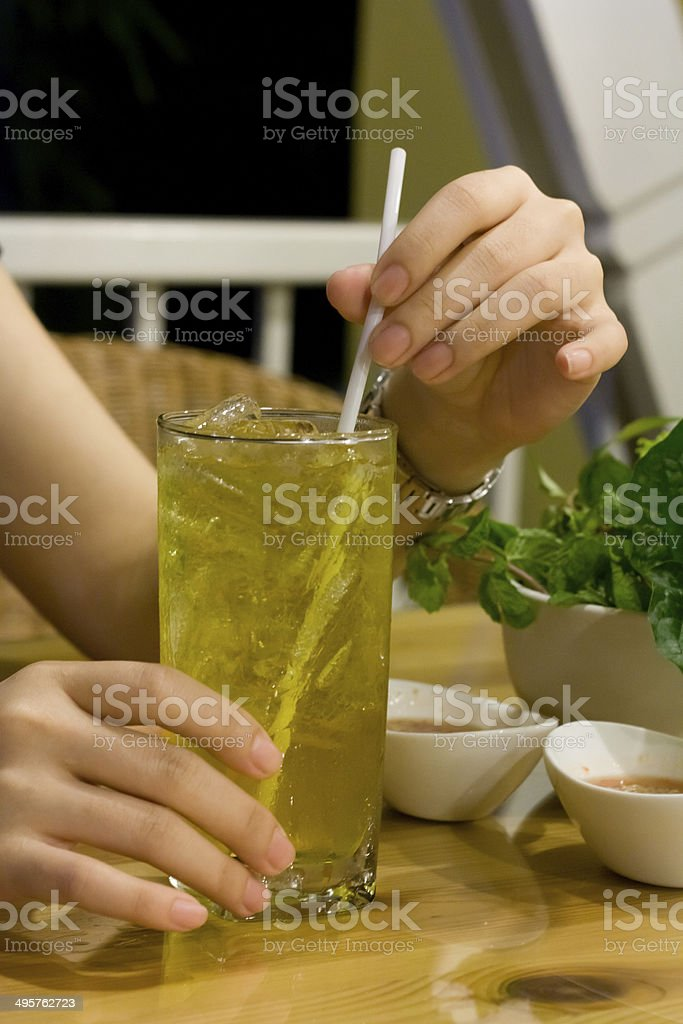 yellow tea stock photo