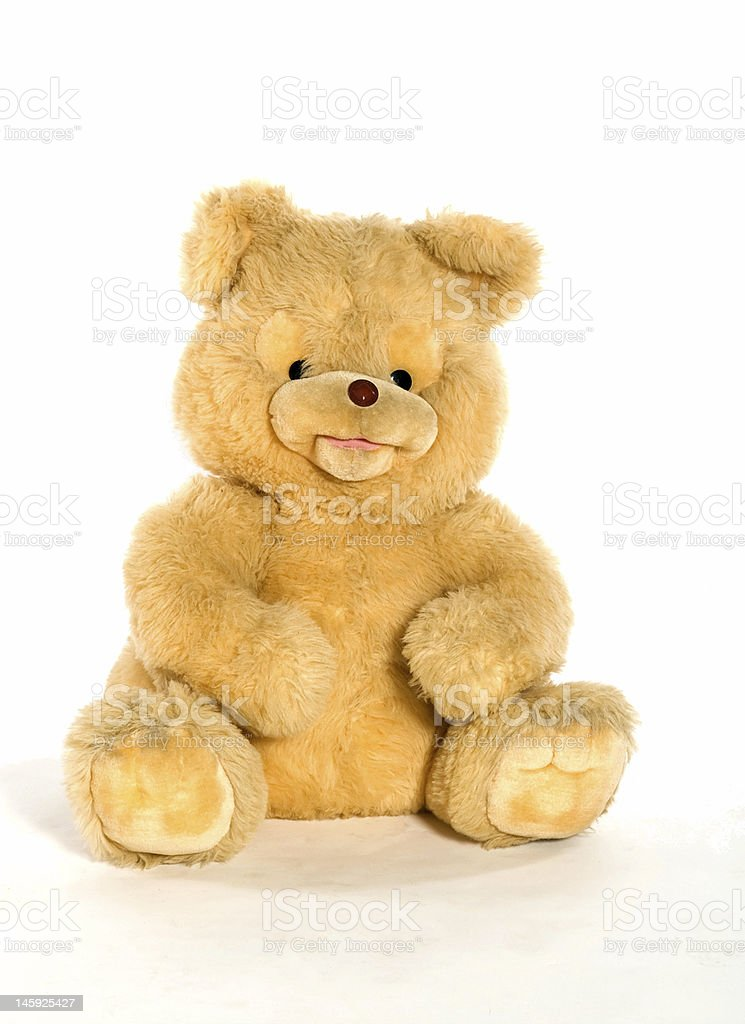 Yellow teddy bear isolated on white royalty-free stock photo