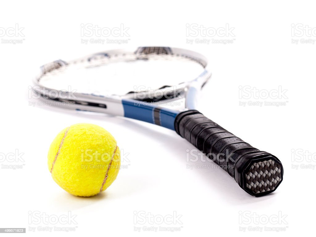 Yellow tennis ball and racket isolated on a white background stock photo