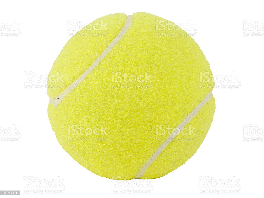 A yellow tennis ball with white background  royalty-free stock photo