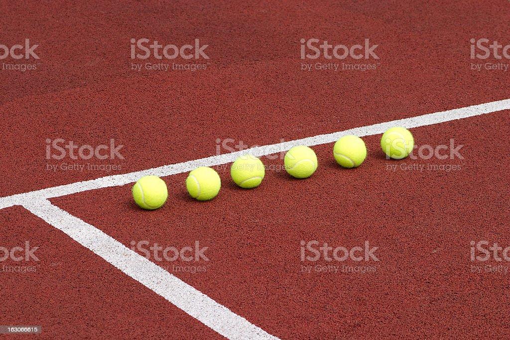 Yellow tennis balls inline outdoor stock photo