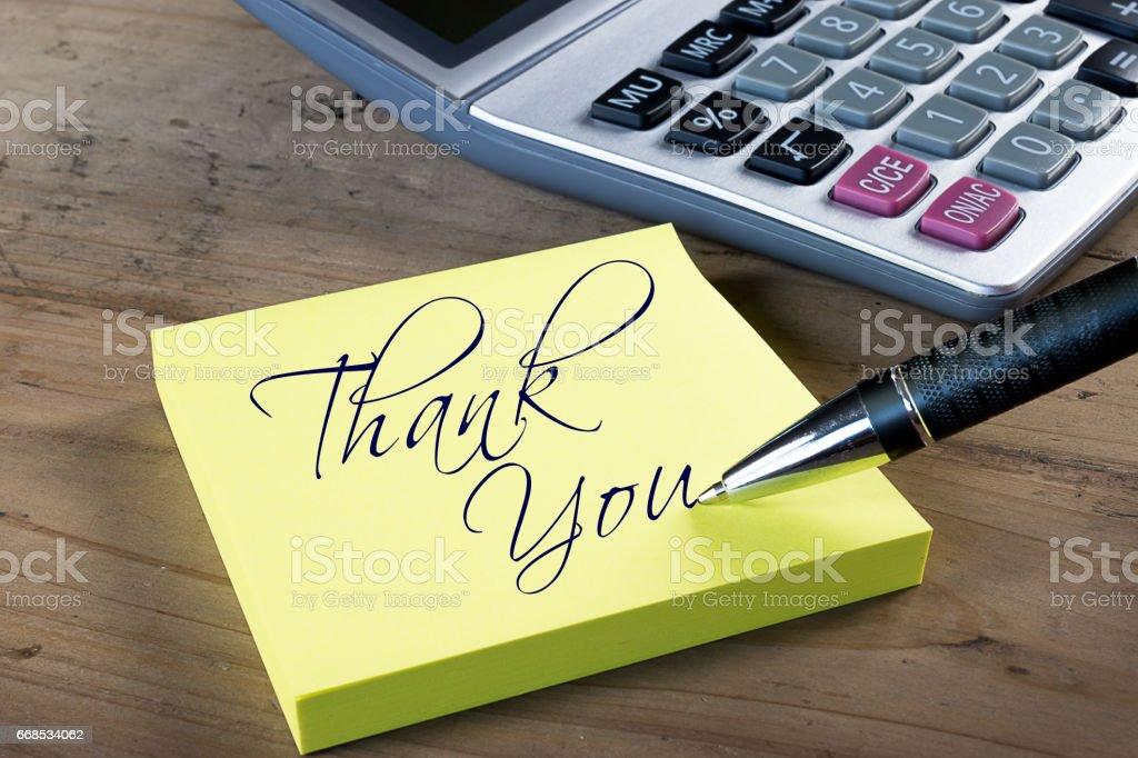 Yellow thank you note. stock photo