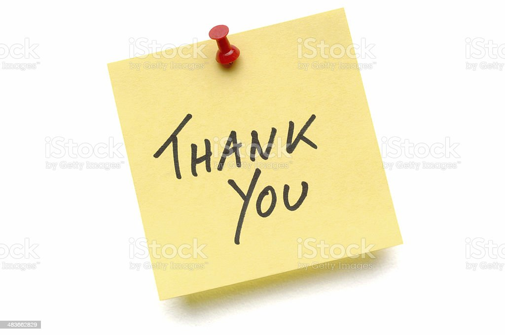 Yellow Thank You Post-it Note stock photo