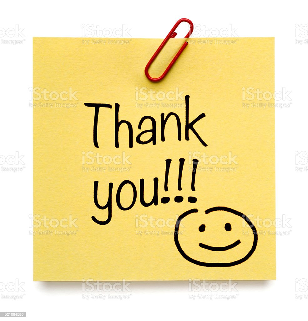 Yellow Thank You Post-it Note with smiley stock photo