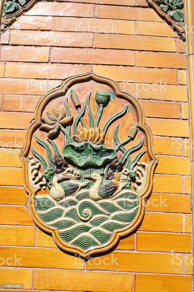 Yellow Tiles and Ornament at Imperial Garden, Forbidden City, China royalty-free stock photo
