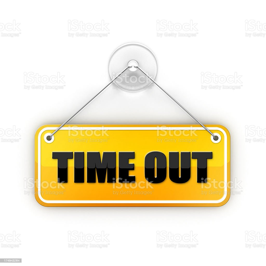 yellow time out Sticky sign stock photo