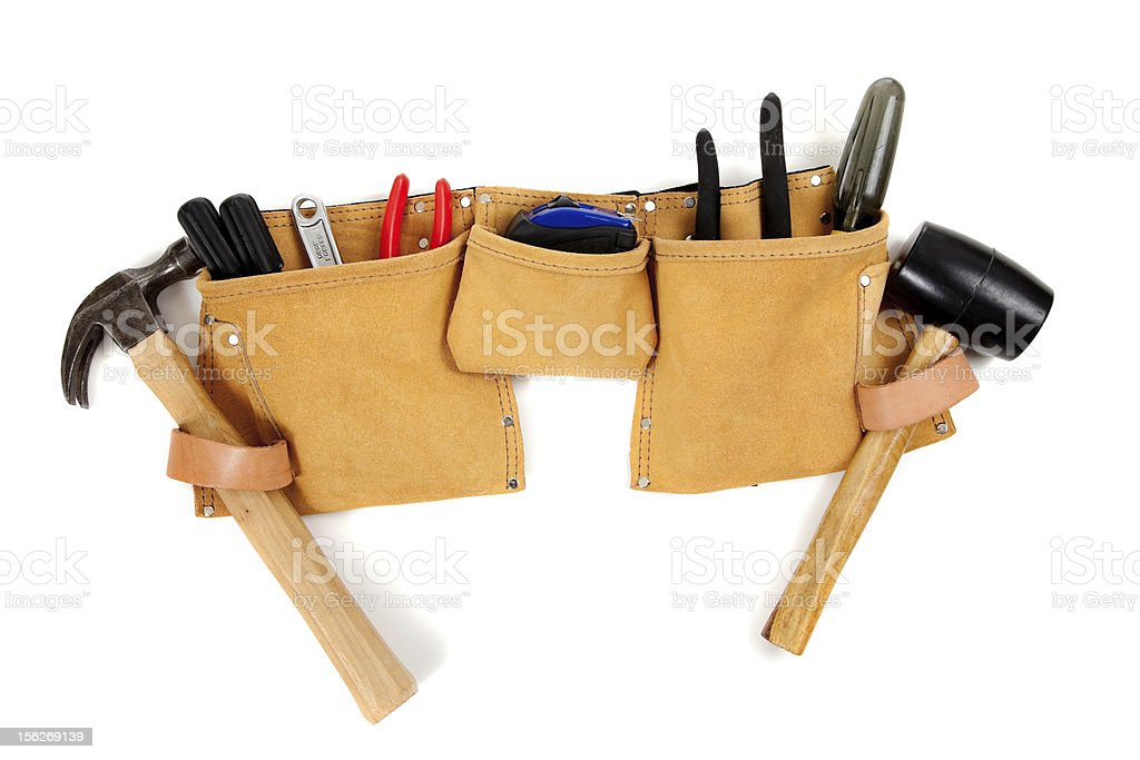 Yellow toolbelt with various tool on a white background stock photo
