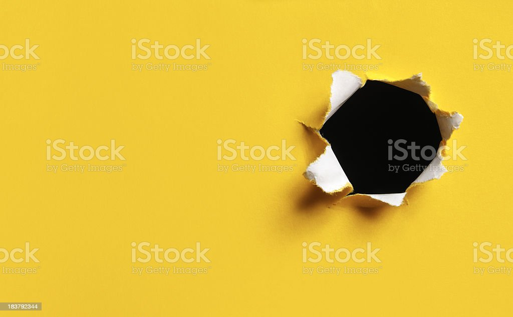 Yellow Torn Paper hole, horizontal stock photo