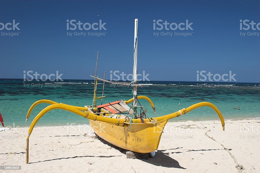 Yellow traditional Boat stock photo