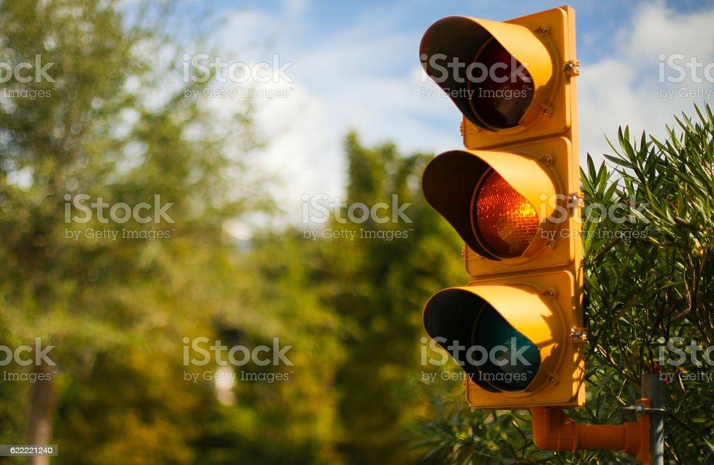 Yellow traffic light stock photo