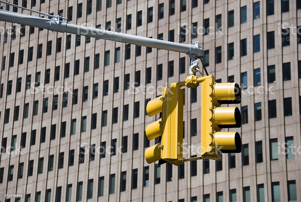 Yellow traffic lights stock photo
